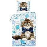 Animal Club Chat Chaton linge de lit housse de couette 140x200 + TAIE 70x90 Idée Déco 100% Coton