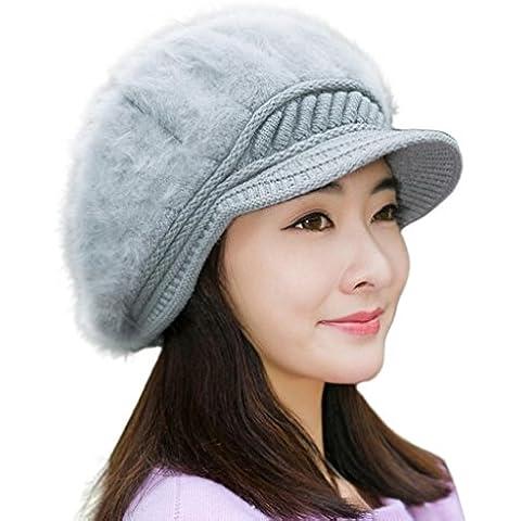 Tongshi Las mujeres caliente del invierno de la boina del casquillo trenzado holgado de punto de ganchillo Beanie Hat Cap de esquí