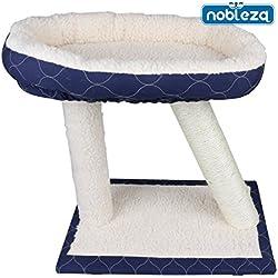Nobleza 026456 - Juguete rascador para gatos, tipo varias plataformas. Color blanco y azul marino, alto 45cm.