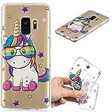 Everainy Coque Samsung Galaxy S9 Silicone Housse Étui Transparente Motif Souple Bumper Fine Cover Etui Galaxy S9 Transparent Mince Caoutchouc Antichoc Case (Licorne)
