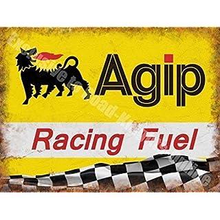 Agip Racing Benzin Öl Motorsport Rennsport Garage Metall Wand Schild - 20 x 30 cm