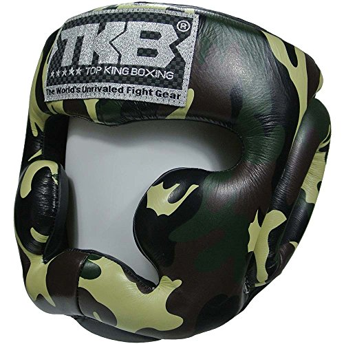 TOP KING Kopfschutz, Empower, camo jungle, Head Guard, Protector, Leather, MMA Größe L (Camo Red Head)