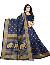 Jaanvi Fashion Women's Art Silk Elephant Motifs Kalamkari Printed Saree (Blue)