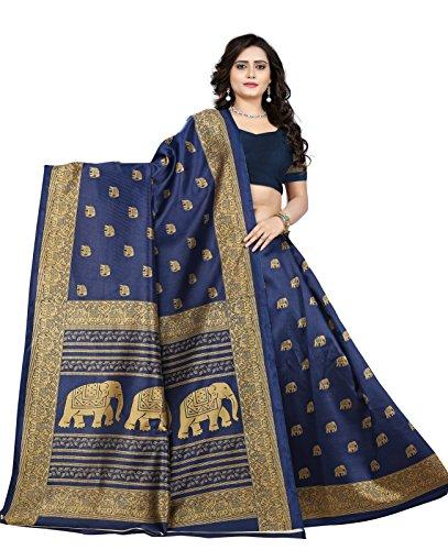 Jaanvi Fashion Women\'s Art Silk Elephant Motifs Kalamkari Printed Saree (Blue)