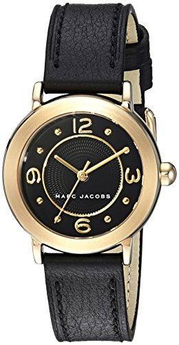 Marc Jacobs Women's Riley MJ1475 Black Leather Quartz Fashion Watch (Marc Jacobs Black Watch)
