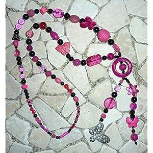 lange Y – Kette – SCHMETTERLING – pink & schwarz –