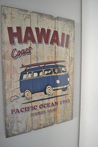 Preisvergleich Produktbild Deko Bild Vintage / Sprüchen Motiv Bulli Hawai Coast