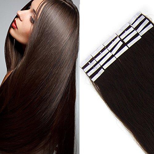 Tape Extensions Echthaar -100% Remy Echthaar Haarverlängerung glatt Dunkelbraun,40cm-50g (20 stück+10pcs free tapes)