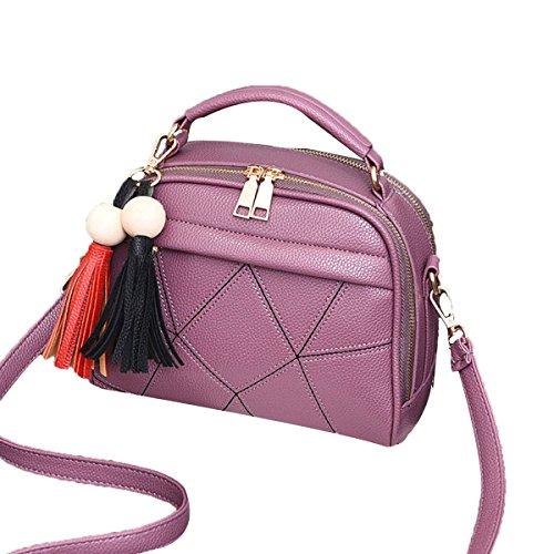 Lady Vintage Tassels Pu Borsa In Pelle Borsa A Tracolla Borsa A Tracolla Top-handle Per Donne Multicolore Purple