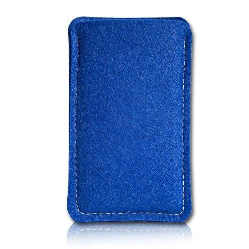Filz Style Mobistel Cynus E4 Premium Filz Handy Tasche Hülle Etui passgenau für Mobistel Cynus E4 - Farbe dunkelblau