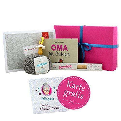 * Geschenkset Hallo Oma! * werdende Oma Geschenk - Geschenk für Oma mit Wolle, Anleitung und GRATIS Glückwunschkarte HERZLICHEN GLÜCKWUNSCH! - Geschenkbox Baby - Enkelkind unterwegs - Geschenk Oma MyOma ()