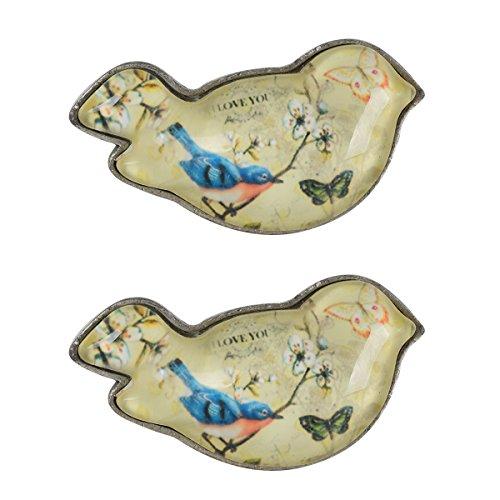 Foto de NIKKY HOME 2 elegantes tiradores para cajones y alacenas de estilo vintage con forma de pájaro de metal y cristal Regalo decorativo