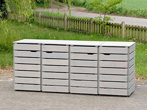 4er Mülltonnenbox / Mülltonnenverkleidung 240 L Holz, Transparent Geölt Grau