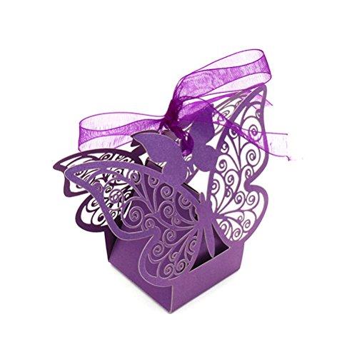 Amosfun 40 STÜCKE Schmetterling Süßigkeitskästen Hochzeit DIY Dekoration Geburtstag Party Favor Brautbankett Geschenkboxen (Zufällige Farbe Bänder)