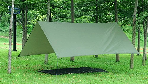 51rR4sTUuLL - theBlueStone 3m x 3m - Waterproof, Lightweight,Ripstop Compact & Strong Green Tarpaulin for Camping
