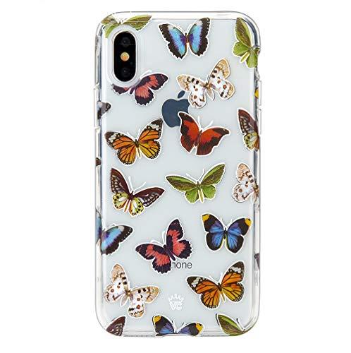 Velvet Caviar iPhone XS Hülle/iPhone X Case Klar mit Design, Vintage Butterfly -