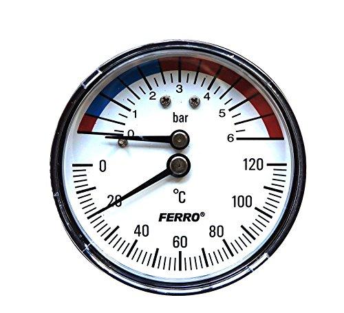 63mm GB122Temperatur und Manometer bis 120C und 6bar hinten -
