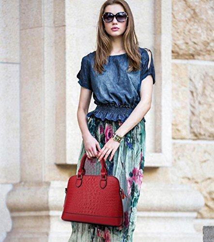 X&L Krokodil-Muster Mode Frauen Diagonale Schulter Leder Handtasche wine red