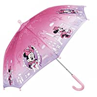 PERLETTI Disney Kids Umbrella - Stick Umbrella for Girls with Minnie - Windproof and Resistant Brolly - Safety Opening - 3 to 6 Years - Pink - Diameter 76 cm