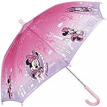 Paraguas Disney Minnie Mouse Niña - Paraguas Resistente Antiviento y Largo - Apertura de Seguridad -