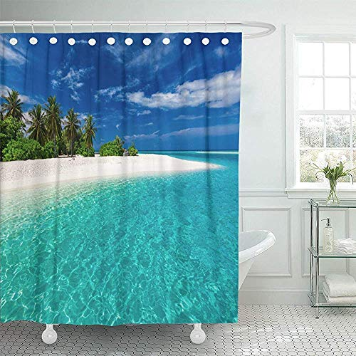 Blue Lagoon Bettwäsche (Duschvorhänge, Waterproof Shower Curtain Curtains Green Fiji White Sandy Tropical Bea with Palm Trees and Blue Lagoon on Sunny Day Extra Long Decor Bathroom Odorless Eco Friendly Anti Bacterial)
