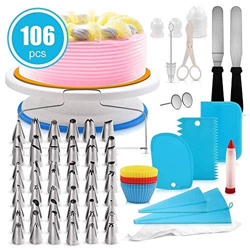 orieren Ausrüstung 106 Stücke Kuchen Dekorieren Set Cupcake Dekorieren Kit Backen Liefert mit rutschfesten Plattenspieler Stand ()