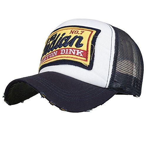 Lanskrlsp cappellino estivo ricamato cappelli a rete per uomo donna traspirante cappello casuali hip hop hat da baseball
