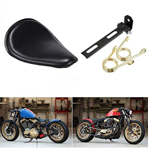 Iglobalbuy Motorrad Solo-Sitz mit Federn, Gold schwarze Halterung für Harley Honda Yamaha Bobber Chopper Custom
