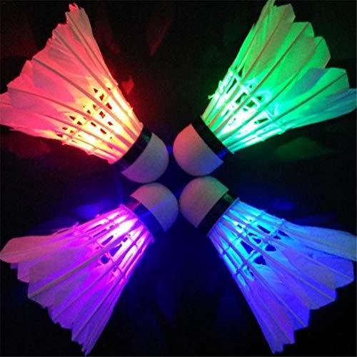 4 Stück LED Badminton Bälle Federbälle, Mit Ein/Aus-Taste, Ute Haltbarkeit Und Hervorragende Leistung, Federball Beleuchtung Für Outdoor En Indoor Sportsaktivitäten