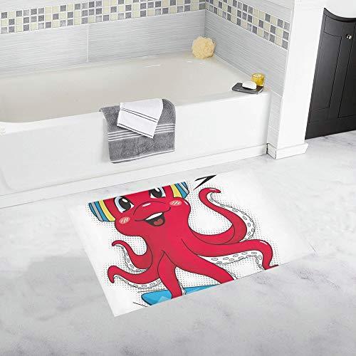 LMFshop Niedliche Octopus tragen Kopfhörer Skateboard isoliert benutzerdefinierte rutschfeste Badematte Teppich Bad Fußmatte Boden Teppich für Badezimmer 20 X 32 Zoll (Skateboard-kopfhörer)