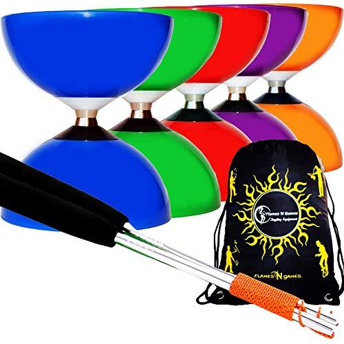 Flames N Games Jester Bearing Diabolo di Juggle Dream e Bastoncini in Alluminio anodizzato Inclusi Diablo Rope Travel Bag Giallo // Blu + Oro Bastoncini