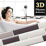 4 Stück 28,6 x 5,4 cm Fliesenaufkleber verschiedene Grautöne Ziegel I selbstklebende 3D Fliesen Küche Bad Fliesendekor Fliesenfolie Wandora W1427