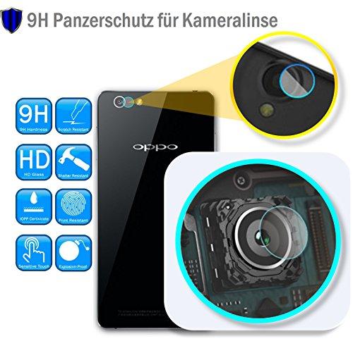 Genieforce ✔Premium Kamera Objektiv HD+ Panzerfolie Schutzfolie für OPPO R1 - Kameralinse Panzerfolie - Sicherheitsglas Tempered Glass Protector - 0,2mm Hartglas - 9H Ultra Hart - 2.D Ro& Edge + Profi Einbaus ֎