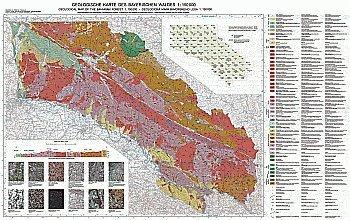 Geologische Karte 1:150000 Erdgeschichte des Bayerischen Waldes: Geologischer Bau, Gesteine, Sehenswürdigkeiten