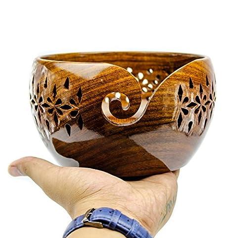 Bois de Rose en bois Fil de stockage de bol avec trous sculptés et perceuses | à tricoter Crochet Accessoires | Nagina International L marron