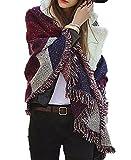 Jusfitsu Donna Tassel Sciarpa Inverno Signore Sciarpa Di Grandi Cachemire Lattice Grande Sciarpa