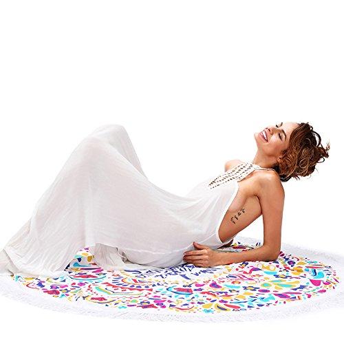 Erica Frauen-Strand-Decke Mandala-Tapisserie-böhmischer runder Druck-Troddel-Strand-Schal-Yogamatte-Wand-Dekor as figure