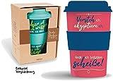 Bamboo Becher to go'... finde ich trotzdem scheiße!' 400 ml für Kaffee/Tee: aus Bambus mit Silikondeckel und -halter in Geschenkverpackung