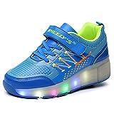 Kinder Schuhe mit Rollen Skateboardschuhe für Jungen Mädchen Rollschuhe Sportschuhe Turnschuhe Laufschuhe Sneakers mit Rollen LED Wheels Schuhe Blau 35