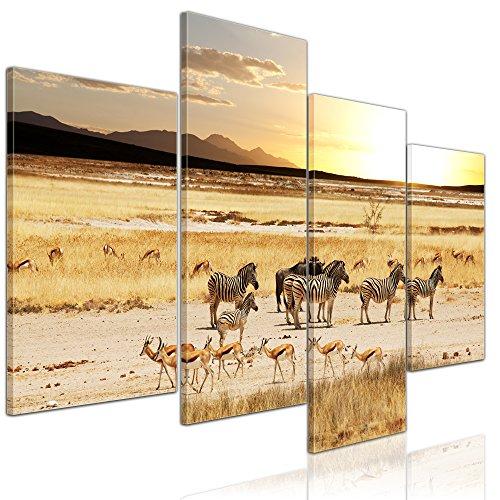 Wandbild - Afrikanische Savanne - Bild auf Leinwand - 120x80 cm 4 teilig - Leinwandbilder - Bilder als Leinwanddruck - Tierwelten - afrikanische Wildtiere -