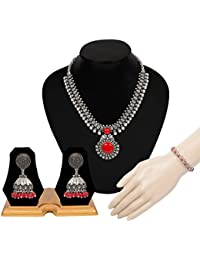 The Indian Handicraft Store Designer Handmade Jewellery Red Stone Oxidised Silver Set Necklace Bracelet Earring...