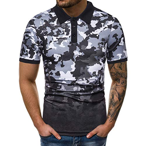 a94c2e079bc4f7 UULIKE Men s Short Sleeve Lapel T-Shirt Leisure Camouflage Gradient  Splicing Pattern Tops Fashion Fitness