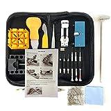 HAOBAIMEI 168 pz orologi kit di riparazione professionale Spring Bar Tool set, kit batteria di ricambio per orologi, cinturino Link pin set di attrezzi con valigetta e manuale di istruzioni (Nero scu)