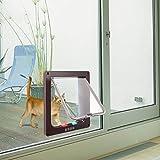 Sailnovo Katzenklappe 4-Way Magnetic Lock hundeklappe Haustiertüre Cat Flap große, 23.5*25*5.5cm Dog Cat Pet Door Flap Easy Install with Telescopic Frame with Heavy Duty Quiet Magnetic Frame, L brau