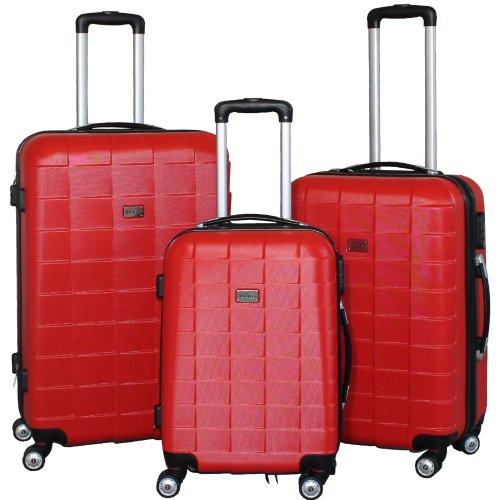 BERWIN Kofferset 3-teilig Reisekoffer Koffer Trolley Hartschalenkoffer ABS Teleskopgriff Modell Squares (Rot)