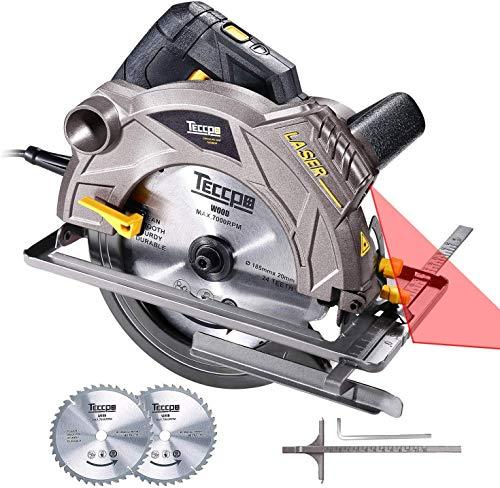 Scie Circulaire, TECCPO Professional 1500W Scie Circulaire avec Laser, 5800 RPM, 2 Lames Ø 185mm...