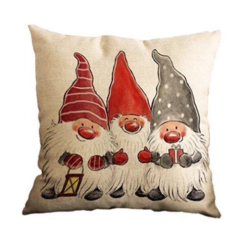 Nunubee, copri cuscino decorativo quadrato, modello natalizio, per casa, auto o divano , cotone lino, pattern 14, 45 cm x 45 cm