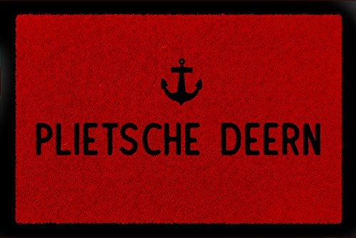 Küste Mädchen (FUSSMATTE Türmatte PLIETSCHE DEERN Anker Norddeutsch Küstenkind Mädchen Küste Rot)