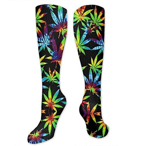 HVCMNVB Rainbow Tie Dye Pot Leaf Women Sport High Stockings High Graduated Crew Socks - Flagge Pot Leaf