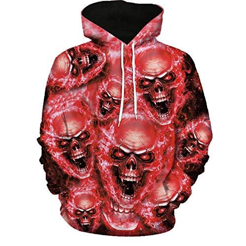 Kanpola Oversize Herren Shirt Slim Fit Schwarz Adler Totenkopf 3D Bedruckte Kurzarmshirt T-Shirt Tee (Z-Rot, ()